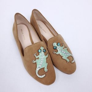 Pelle Moda Suede Jeweled Chameleon Loafers